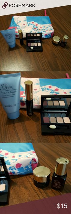 Estee Lauder Gift Set Estee Lauder Gift Set includes:  -Bag -Take it Away Makeup Remover Lotion for all skin types 1 fl oz -Sumptuous Bold Volume Lifting Mascara in 01 Black  -Pure Color Envy Sculpting Eyeshadow Palette  (4)  -Advanced Night Repair Eye Synchronized Complex II 0.17 oz -Advanced Night Repair Synchronized Recovery Complex II 0.24 fl oz Estee Lauder Makeup