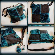 Handmade by Judy Majoros- Turquoise-black faux fur Bag Fur Bag, Faux Fur, Turquoise, Handmade, Fashion, Bags, Moda, Hand Made, Fashion Styles