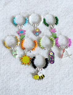 Beaded Wine Glass Charms  Set of 8  SUMMER by uniquelyyours2010