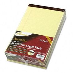 Ampad Gold Fibre Writing Pads, Legal/Wide Ruled, Legal, Canary, 50 Sheets, 12-Pack