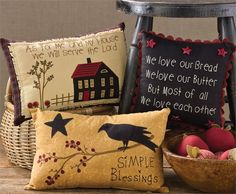 """From The Country Porch... Simple Blessings Primitive Star/Crow Pillow 9"""" x 14"""""""