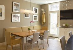 Kitchen banquette with drawers below