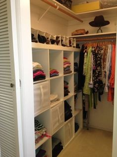 Today I'm sharing small, even tiny walk-in closets and ideas to organize | Tags: small walk in closet ideas layout, small walk in closet diy, small walk in closet ideas organization
