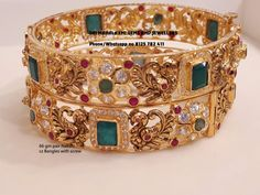 Latest collection of stone bangle. Presenting here 66 gm pair Nakshi work Czs bangles and 65 gm pair of Uncut Diamonds Bangle with screw system. Visit for best designs. Contact no 8125 782 24 March 2019 Gold Bangles Design, Gold Jewellery Design, Ruby Bangles, Silver Bracelets, Gold Necklaces, Bangle Bracelets, Silver Rings, Jewelry Design Earrings, Sterling Silver Jewelry