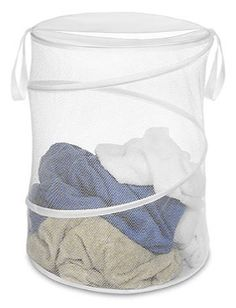 Dirty clothes find a home off the floor in this spacious hamper. The collapsible mesh design with carrying straps makes it easy to take this storehouse of yesterday's clothes from your bedroom straight to the laundry room.