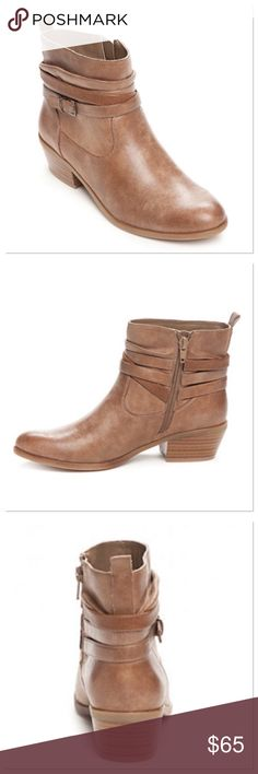 Kim Rogers Pamila Booties Rouched detailing and straps with metal buckles add interest to these booties while the interior zippers provide easy on-off access. Plush memory foam filled microfiber socks and lighweight, flexible outsoles make this a stylish, yet wear-all-day style you'll love! Under 1-in. platform height, 1.5-in. heel height, 11-in. calf circumference Interior side zip closure Almond toe Memory foam insole Upper: polyurethane; Lining: microfiber; Midsole: microfiber; Outsole…