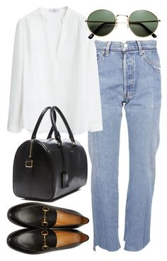 """Untitled #2481"" by mollyk99 ❤ liked on Polyvore featuring Vetements, MANGO, Gucci, Yves Saint Laurent and H&M"