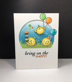 Birthday Chicks: MFT, critter sketch, by beesmom - at Splitcoaststampers Karten Diy, Interactive Cards, Kids Birthday Cards, Mft Stamps, Cricut Cards, Beautiful Handmade Cards, Bird Cards, Animal Cards, Copics