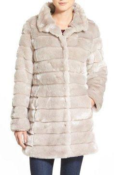 Grooved FauxFur Coat (Regular & Petite) - Pink & Rowe