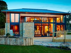 A new self build modern wood frame house, built using sustainable materials and features state of the art eco technology. More on modern wood frame houses. Wood Frame House, Wooden House, Design Your Dream House, House Design, Oak Framed Buildings, Timber Frame Homes, Custom Built Homes, House Extensions, House In The Woods