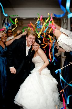 Must-Have wedding photos Ribbon wands exit from church