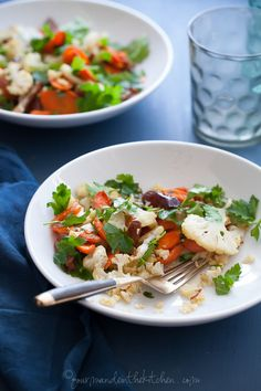 Warm Cauliflower Carrot Salad with Citrus Miso Dressing | gourmandeinthekitchen.com