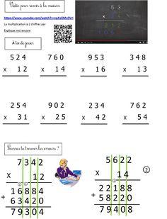 calcul CE2 | Le BLOG de Monsieur Mathieu Multiplication Posée, Math Problems, Science, Math Equations, Education, Learning, School, Arabesque, Blog