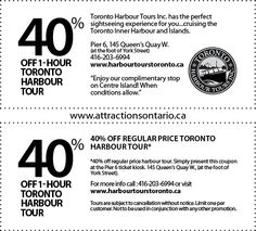 Toronto Harbour Tours - 2015 Summer Coupon Ontario Attractions, Centre Island, Toronto, Coupons, Cruise, Tours, Summer, Summer Time, Cruises