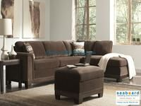Coaster 503645 Mason Chocolate sectional comes wrapped in a velvety chocolate cover, accented with individually placed nail heads, accent pillows and an exposed wood frame. This stylish sectional has added functionality with its reversible sofa chaise lounge.