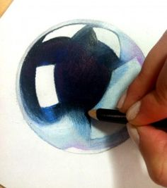 How to draw chrome with colored pencil