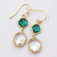 Keira. Emerald Green and Crystal Clear Faceted Glass Stone Earrings Gold by lepetitruban, $38.00