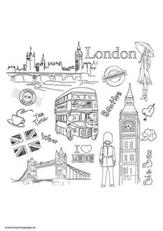 Travel doodles London Colouring Page | MummyPages.ie