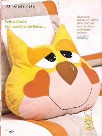 !!!!♥ Feltro-Aholic ♥ Moldes e pap em feltro e feltro estampado!: Almofada de Gatinho - PAP e Molde