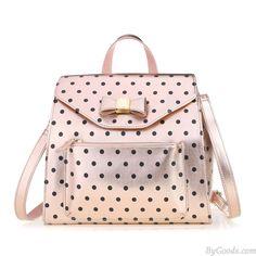 Lovely Bow Polka Dot Multifunction Handbag Shoulder Bag Messenger Bag Backpack only $35.99 in ByGoods.com!