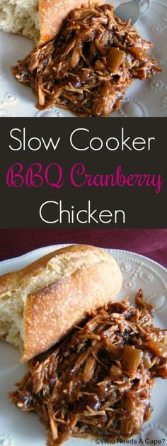 Slow Cooker BBQ Cranberry Chicken   Who Needs A Cape?