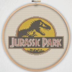 Jurassic Park Logo Cross Stitch Pattern - Instant Download PDF by StitchBucket on Etsy https://www.etsy.com/uk/listing/236275530/jurassic-park-logo-cross-stitch-pattern