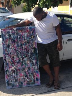 Traver Dodorye creates a piece inspired by pollock