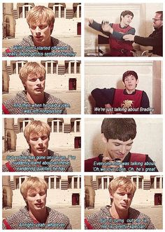 Colin Morgan as Merlin, Bradley James as Arthur Merlin And Arthur, King Arthur, Merlin Memes, Merlin Funny, Bbc, Beard Quotes, Merlin Fandom, Merlin Colin Morgan, Merlin Cast