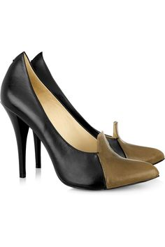 McQ Two-tone pointed leather pumps. $370