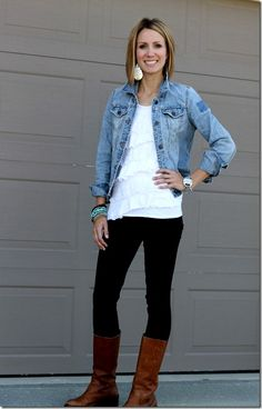denim jacket, leggings, lace, brown boots