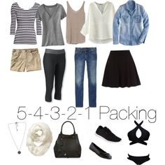 5-4-3-2-1 Packing by kelly-nichols on Polyvore featuring J.Crew, Old Navy, Zara, Gap, L.L.Bean, Patagonia, Reebok, Walking Cradles, Accessorize and Vero Moda