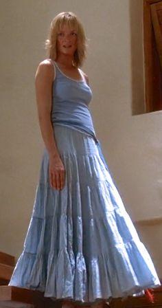 Uma Thurman as Beatrix Kiddo alias Black Mamba in Kill Bill Uma Thurman Kill Bill, Kill Bill 2, Blue Skirt Outfits, Peasant Skirt, Skirt Fashion, Pretty People, Tie Dye Skirt, Black Mamba, Quentin Tarantino