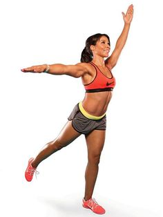 The Arabesque to Balancing Stick targets your shoulders, arms, abs, butt and legs all at once.