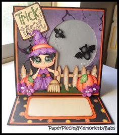 Trick or Treat Light up Easel Card created by PAPER PIECING MEMORIES BY BABS, patterns from KaDoodle Bug Designs