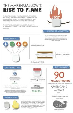 The Marshmallow's Rise to F(l)ame - http://www.coolinfoimages.com/infographics/the-marshmallows-rise-to-flame/