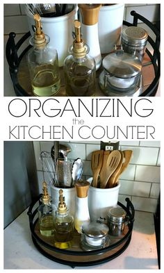 Small kitchen- Organizing the Kitchen Counter - A simple tray and a few canisters is all you need! Easy Home Decor, Cheap Home Decor, Kitchen Decorating, Decorating Ideas, Interior Decorating, Decor Ideas, Diy Ideas, Interior Design, Decorating Websites
