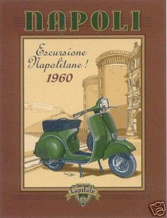 Put a stunning Vespa Posters on your wall today. Choose from hundreds of Vespa Posters and prints which are guaranteed to keep you thrilled. If you are not happy at any time with your Vespa artwork, return it for a full refund. Vintage Italian Posters, Poster Vintage, Vintage Travel Posters, Vintage Ads, Vintage Vespa, Retro, Motorcycle Posters, Motorcycle Humor, Paris Mode