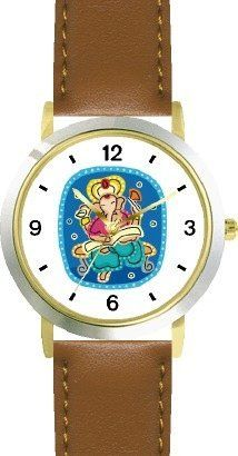 Lord Ganesha Hindi Religion - WATCHBUDDY® DELUXE TWO-TONE THEME WATCH - Arabic Numbers - Brown Leather Strap-Children's Size-Small ( Boy's Size & Girl's Size ) WatchBuddy. $49.95. Save 38%!