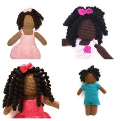 Crochet Faceless African American Doll Made To ORDER by pigswife, $60.00