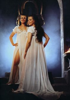 """Oh, alright. Some whistle bait to keep things lively. The Collinson Twins, Madeleine and Mary, from TWINS OF EVIL the third film in Hammer's """"Karnstein Trilogy"""". Hammer Movie, Hammer Horror Films, Hammer Films, Sexy Horror, Horror Art, Vampire Girls, Female Vampire, Famous Monsters, Scary Monsters"""