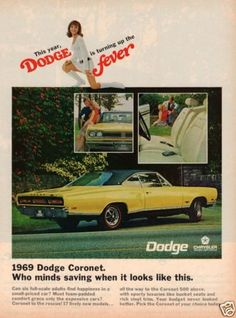 =-= 1968 Vintage Ad: '69 Dodge Coronet Yellow Black