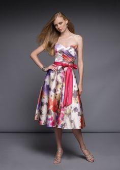 Sweetheart Neckline Clourful Tie Waist Bowknot Keen Length Bridesmaid Dress