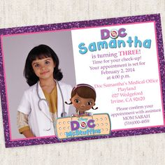 Doc McStuffins Invitation - Custom Photo Printable Design - Doc Mcstuffins Party