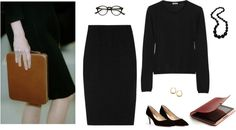 Сет Work Dinner: Black on Black пользователя summitsp с clear glasses ❤ liked on PolyvoreMiu Miu black top / Moschino pleated skirt, $215 / Diane Von Furstenberg black suede pumps / Chunky jewelry, $18 / Kenneth Cole yellow gold earrings / Ipad case / Clear glasses