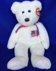 """2000 LIBEARTY Beanie Buddy Bear White USA Flag Retired WIth Tags 14""""  Buddie     #Ty"""