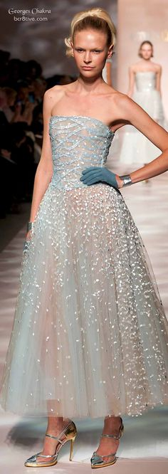 Georges Chakra ~ Spring Blue Strapless Embroidered Gown 2015