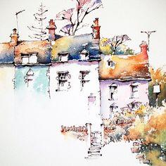 Watercolor Painting Techniques, Watercolor Landscape Paintings, Watercolor Images, Pen And Watercolor, Watercolor Illustration, Painting & Drawing, Art Paintings, Watercolor Trees, Watercolor Artists