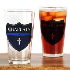 Police Chaplain Shield Drinking Glass