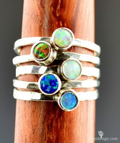 Small Opal Rings Opal Ring Opal Jewelry Stacking by Alaridesign