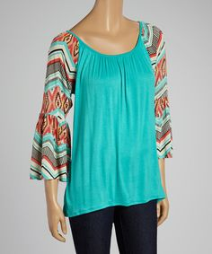 Another great find on #zulily! Mint & Coral Geo Bell-Sleeve Scoop Neck Top by sun n moon #zulilyfinds